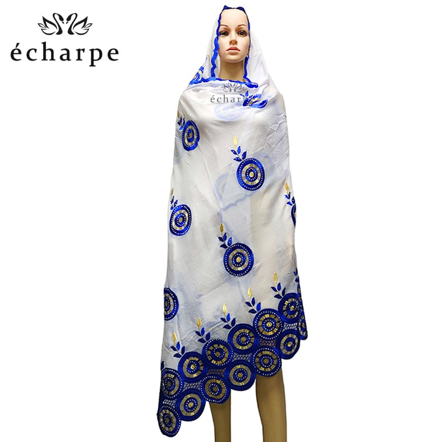 Latest African Women Scarfs 100% Cotton Scarf Circle Design Embroidery Muslim Women Pray Party Scarfs EC128