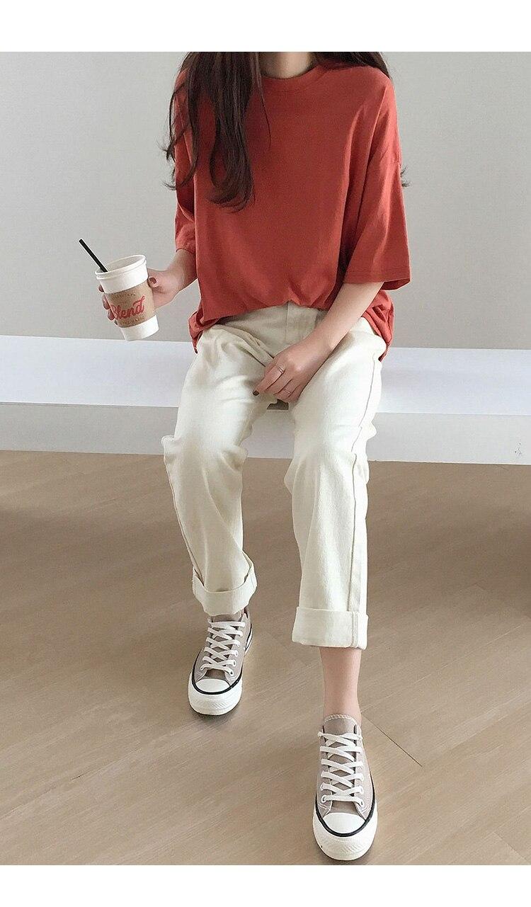 Hdfa59eea0bdd4d84ba164315956e37d66 - Summer O-Neck Short Sleeves Minimalist Loose Basic T-Shirt