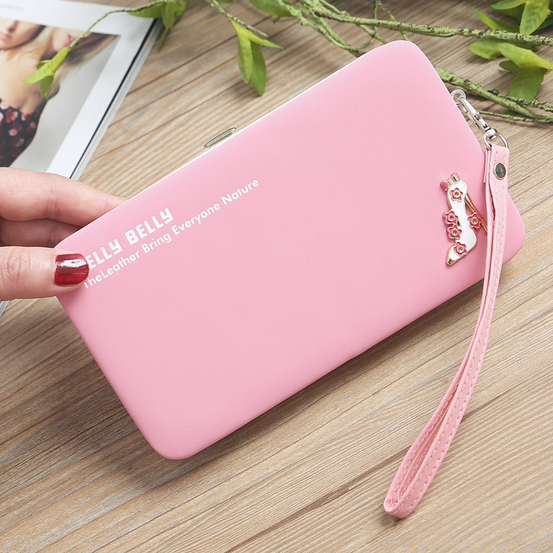 Women New Fashion Candy Color Mobile Phone Bag Long High Heel Clutch Rectangle Letter Card Case Coin Purse For Birthday Gift