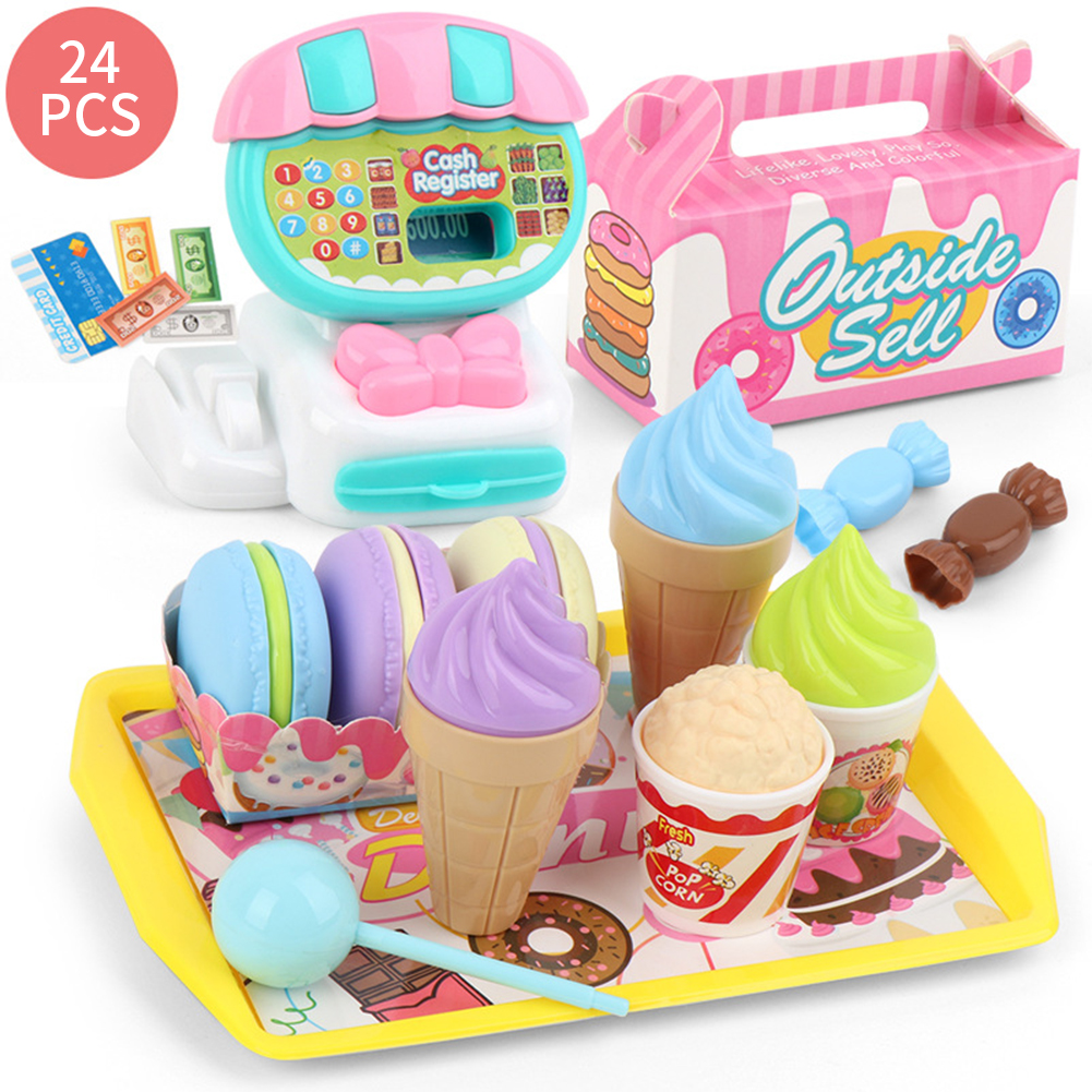 Teaching Birthday Gift Cash Register ABS Kids Educational Learning Toy Set Home Simulation Children Mini Supermarket Play House