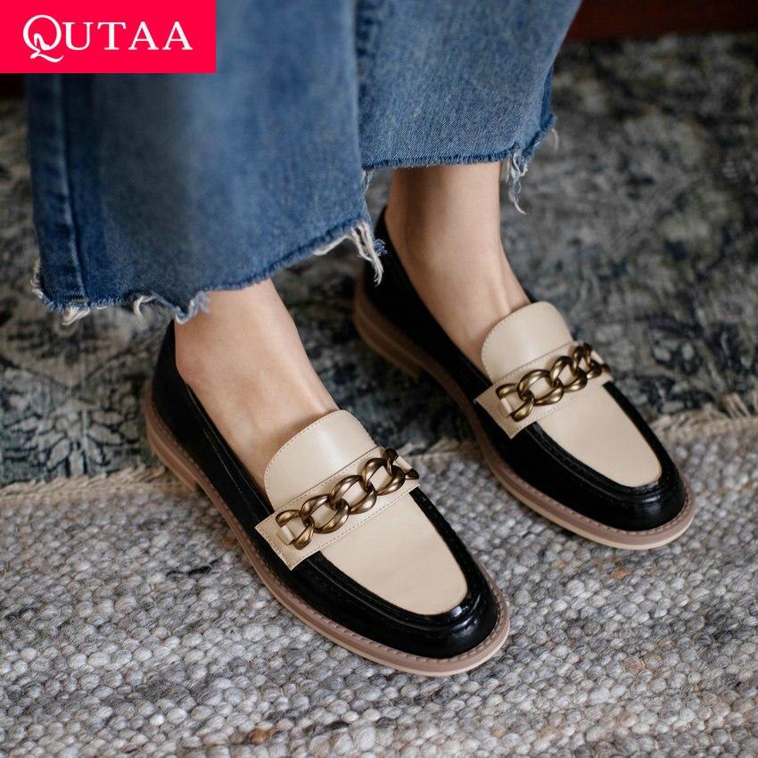 QUTAA 2021 chaînes en métal carré talons bas décontracté bout rond printemps automne femmes pompes en cuir véritable femme chaussures taille 34-39