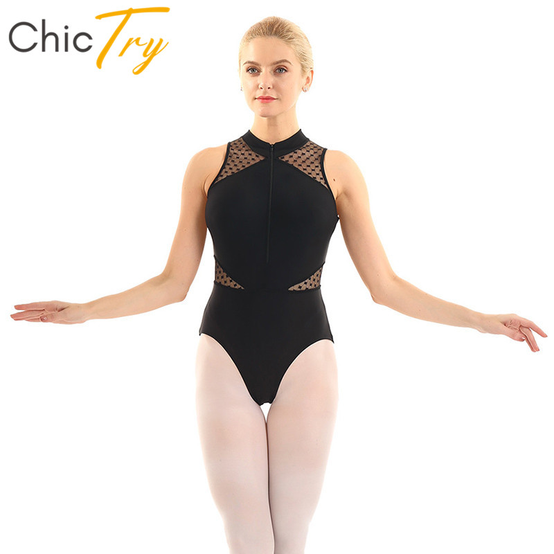 CHICTRY Womens Sleeveless Halter Neck Sequin Mesh Ballet Dance Leotard Bodysuit