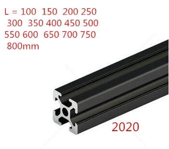 1PC BLACK 2020 European Standard Anodized Aluminum Profile Extrusion 100-800mm Length Linear Rail for CNC 3D Printer transkoot 20pcs aluminum gusset plate angle 1515 bracket for aluminum extrusion profile 1515 series for 3d printer