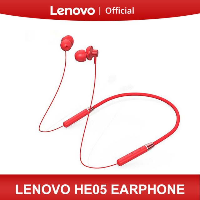Lenovo Bluetooth наушники HE05 беспроводного Bluetooth (голубой зуб) наушника BT5.0 спортивные гарнитуры Sweatproof IPX5 с микрофоном шумоподавления эрпом