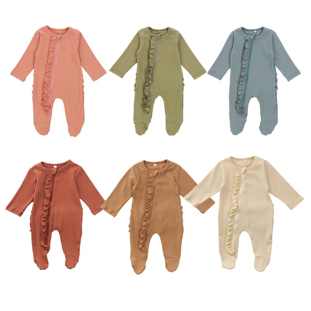 Newborn Baby Girls Boys Blanket Sleepers Solid Long Sleeve Zipper Ruffles Warm Autumn Sleepwear 0-6M