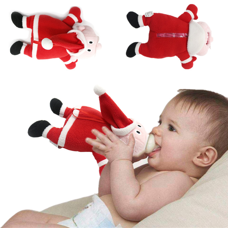 Детский Рождественский подарок, аксессуары для бутылочек с молоком, мягкие плюшевые бутылочки в форме Санты, покрытие для зимних бутылок с