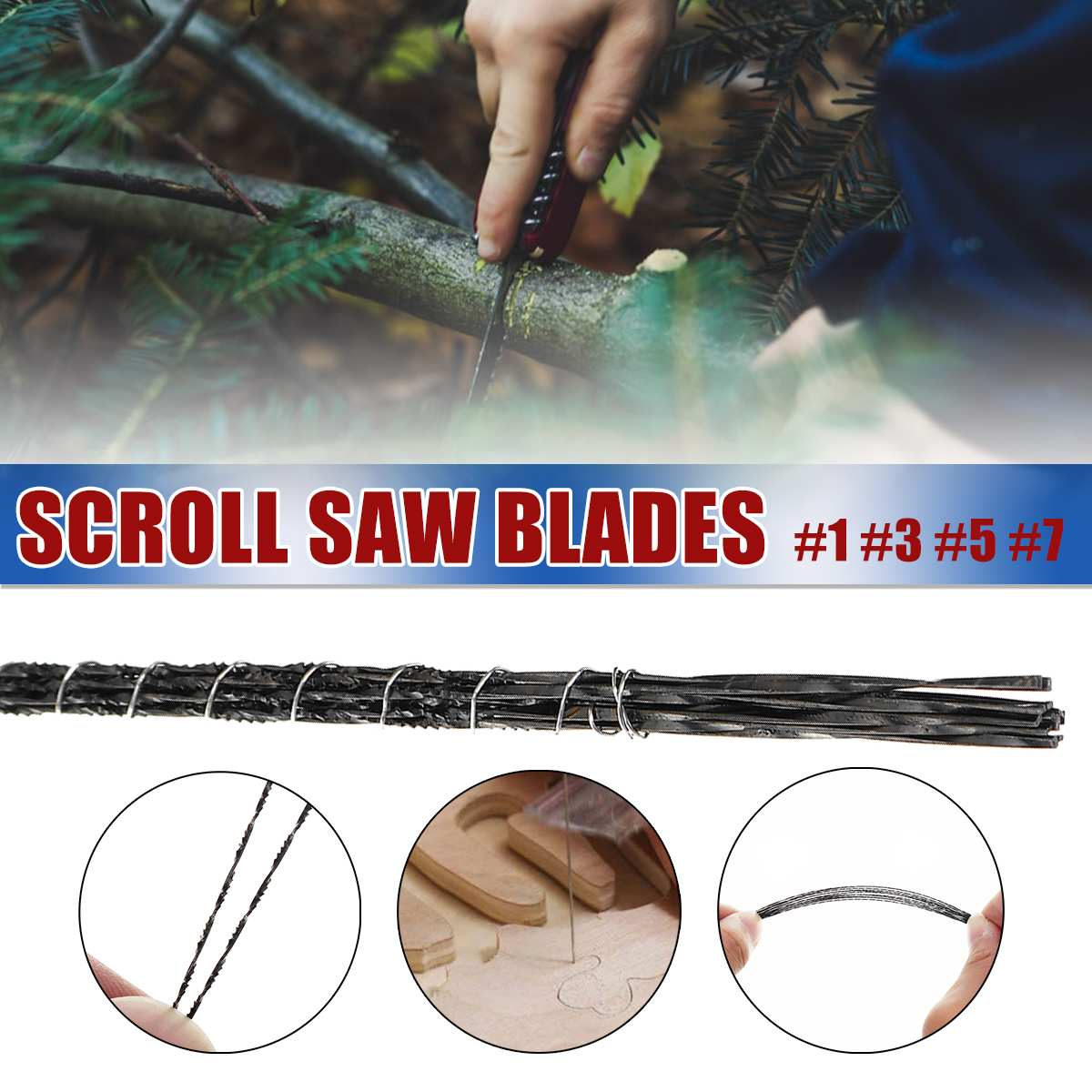 12Pcs 130mm Scroll Saw Blades 1/3/5/7# Jig Saw Blades Spiral Teeth 5 Kinds Wood Saw Blades For Carving  With Chuck