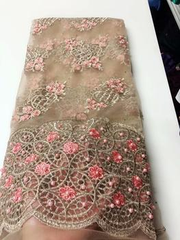 Elegant party African net fabric for lady dress  French lace cloth with beads QN141(5yards/lot)