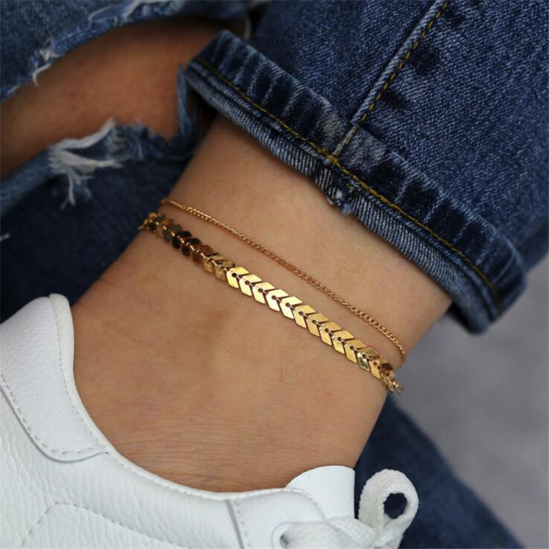 Gold Color Arrow Anklet for Women Foot Chain Summer Beach Barefoot Bracelet on The Leg Female Sequin Ankle 2020 Jewelry