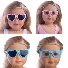 15 estilos de óculos de boneca, óculos em forma de barba em forma de coração para 18 Polegada american doll girl & 43 cm bebê recém nascido, nossa geração