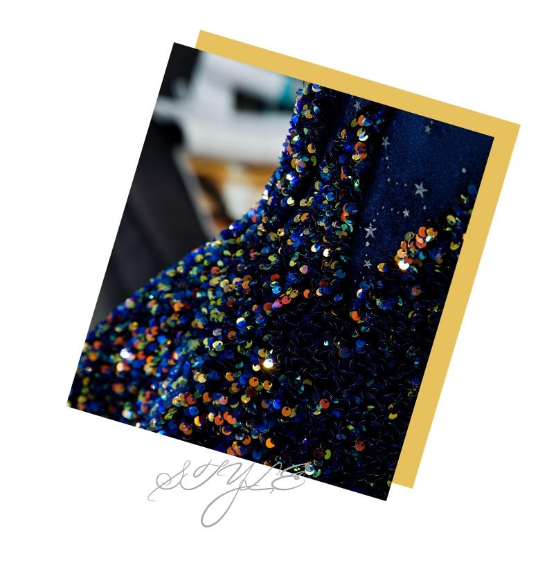 Élégant Spaghetti bretelles robe de soirée avec étoile ornement dentelle paillettes longueur de plancher robe de bal sur mesure - 5