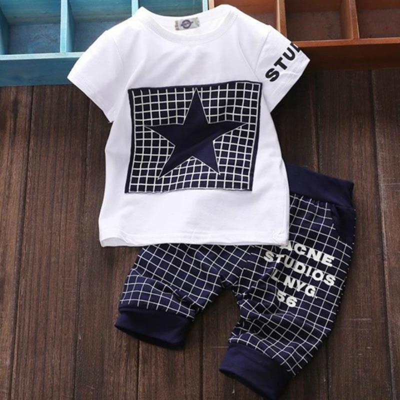 Heißer Verkauf Baby Jungen Kleidung Marke 2020 Sommer Kinder Kleidung Sets T-shirt + Hosen Anzug Stern Gedruckt Kleidung Neugeborenen Sport anzüge