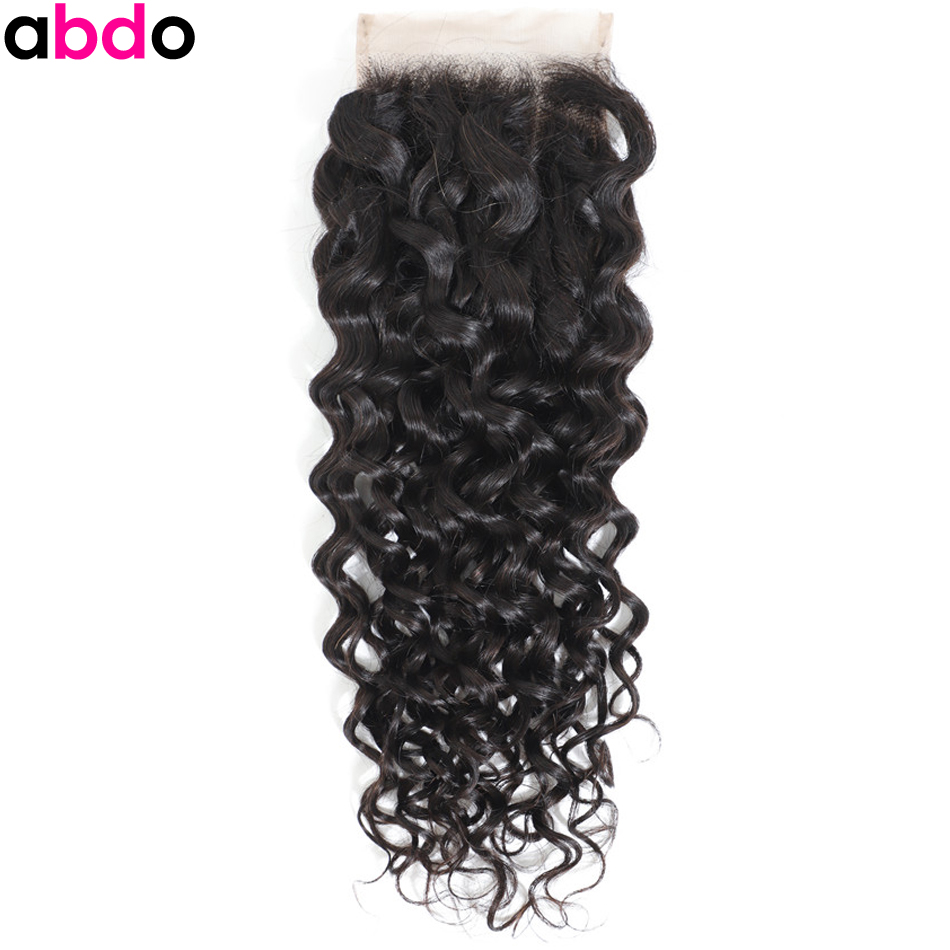 Water Wave Closure 4*4 Brazilian Human Hair Closure Free/Middle/Three Part Closure With Baby Hair Remy Swiss Lace Closure
