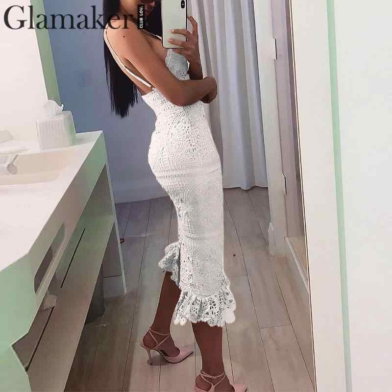 Glamaker винтажный сарафан белое кружевное сексуальное платье осень зима 2019 Bodycon Вечерние Клубное Длинное Платье Vestidos de fiesta Макси платье