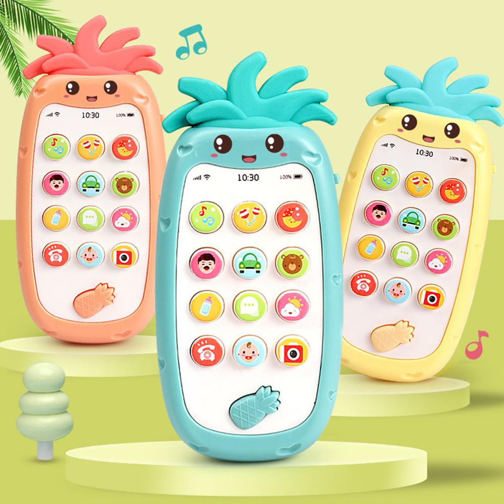 Pineapple Shape Simulated Mobile Phone Bilingual Musical LED Kids Education Toy Build English Chinese Comprehension Great Gifts