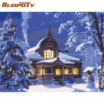 RUOPOTY 40x50cm Framed Picture By Numbers Kits DIY Framed On Canvas Snow House Landscape Oil Paint By Number Home Decors