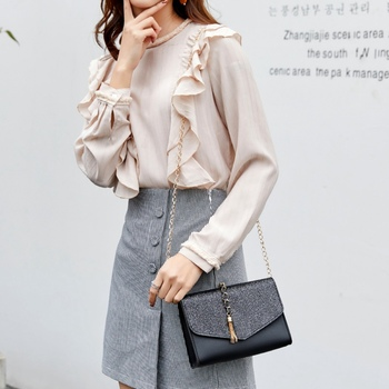 Women PU Fashion Square Bag Shoulder Sling Bags Handbags Crossbody Flap M