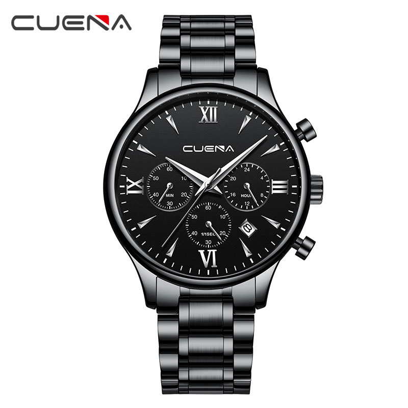 316L Full Steel Chronograph Men Watches Sports Black Watches Waterproof !  Free Shipping