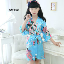 Children's Autumn Spring Soft Rayon Long Pajamas kids' Peacock Printed Rayon Belt Sleepwear Robes Girls' Nightwear 2-8 years(China)