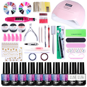 Nail Set UV LED Lamp Dryer Nail Gel Polish Manicure Kit Electric Drill Machine Extension Gel Varnish Sticker Set SA1581-1