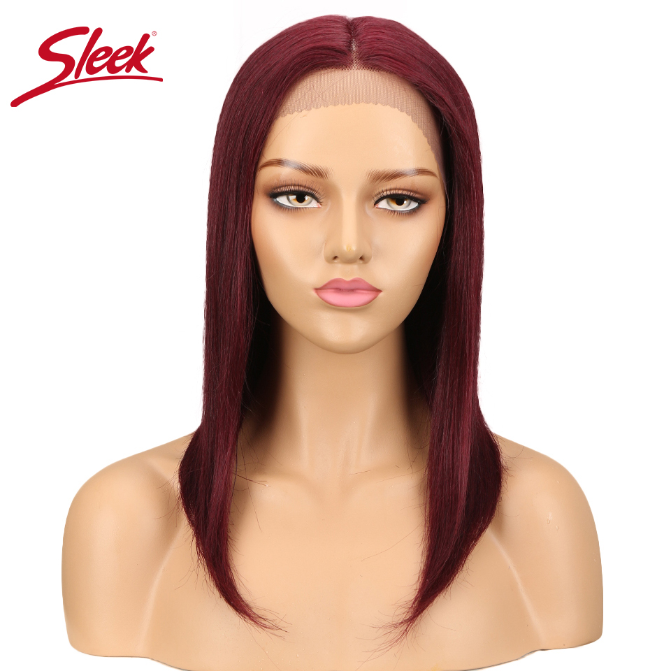 Sleek Peruvian Straight Lace Part Front Wigs Natural Human Hair Ombre Color 27#/30#/99J Weave Short BOB Remy Hair Wigs Free Ship