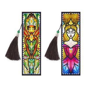 2 шт., для девочек, для красоты, 5D, сделай сам, специальная форма, алмазная живопись, кожа, Закладка, алмазная вышивка, ремесло, книжка с кисточк...