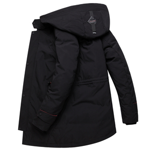 Image 4 - מותג גברים בגדי החורף חדש למטה מעיל האופנה Slim ברדס עבה חם לבן ברווז למטה ארוך מעיל Parka זכר 5XL 6XL