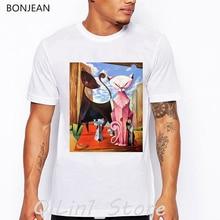 Cats Family Portre design vintage t shirt men abstract animal print tee shirt homme streetwear hip hop rock shirt white t-shirt недорого