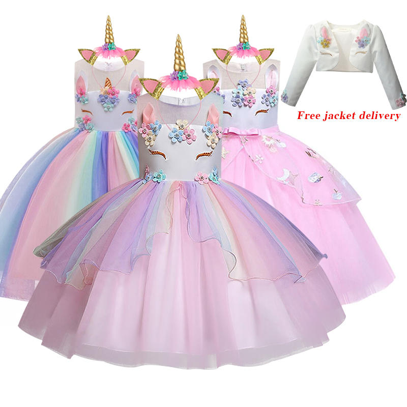 Nuevo vestido de unicornio Elsa para niñas, vestido de baile bordado para niñas, vestidos de princesa para cumpleaños para fiestas, disfraces, ropa para niños