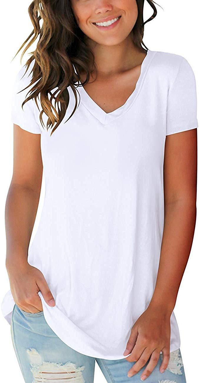 2020 Women's T Shirts Short Sleeve V Neck Loose Casual Basic Tee Tops Summer T-Shirt