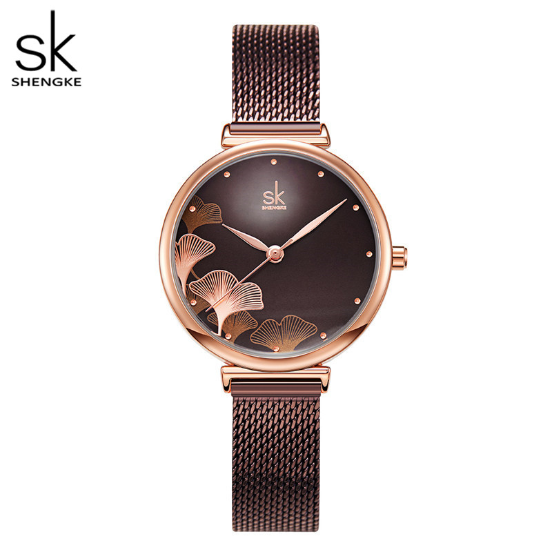 Shengke New Design Women Watches Elegant 32 MM Dial Blue Mesh Band Reloj Mujer Japanese Quartz Movement  Luxury Relogio Feminino 1