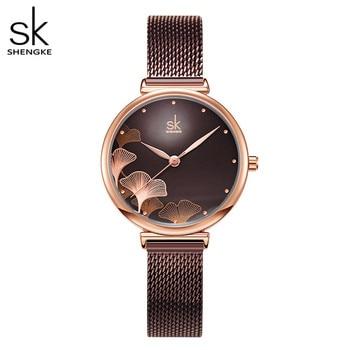 Shengke New Design Women Watches Elegant 32 MM Dial Blue Mesh Band Reloj Mujer Japanese Quartz Movement  Luxury Relogio Feminino - discount item  90% OFF Women's Watches
