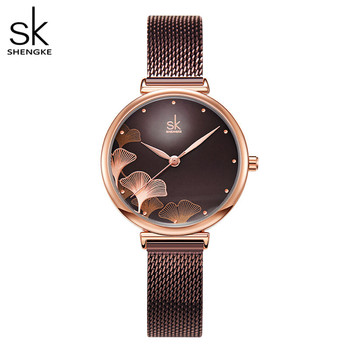 Shengke New Design Women Watches Elegant 32 MM Dial Blue Mesh Band Reloj Mujer Japanese Quartz Movement Luxury Relogio Feminino