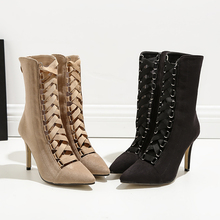 Shoes Woman Flock High Heels Half Boots Cross Strap Pointed Toe Mid Calf Boot Ladies Zip Booties Black Apricot Zapatos De Mujer hot sale beautiful women mid calf velvet boots block heeled blue black pointed toe back zip boots party high heels zapatos mujer