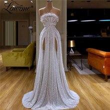 Abendkleider vestidos de baile sin tirantes con cuentas para mujer, vestido largo Sexy de noche hecho a medida para fiesta de celebridades para mujer árabe Dubái 2020
