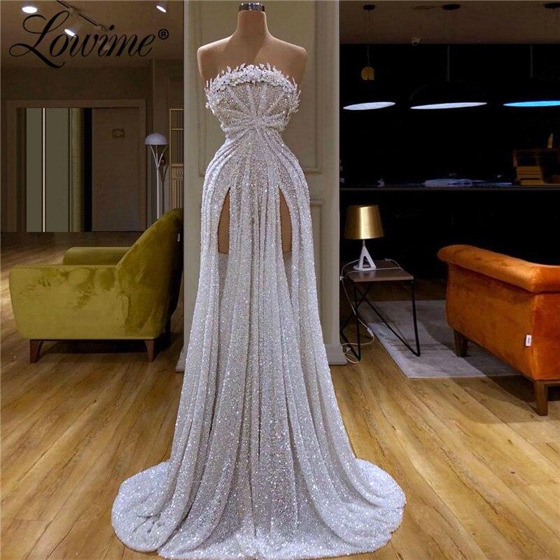 Beaded Strapless Prom Dresses 2020 Abendkleider Long Hot Sexy Custom Made Evening Dress Celebrity Party For Dubai Arabic Women