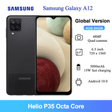 Глобальная версия Samsung Galaxy A12 сотовый телефон, 64 ГБ, 4 Гб оперативной памяти 6,5 дюймов Helio P35 Octa Core 48MP AI Quad камеры 5000 мАч мобильный телефон