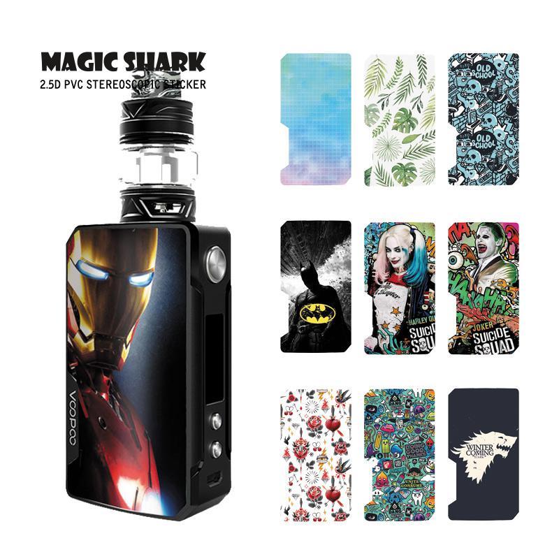 Magic Shark PVC Iron Man Game Of Thrones Leaf Batman Skull Graffiti Joker Case Sticker Skin For Voopoo Drag 2 E Cigar