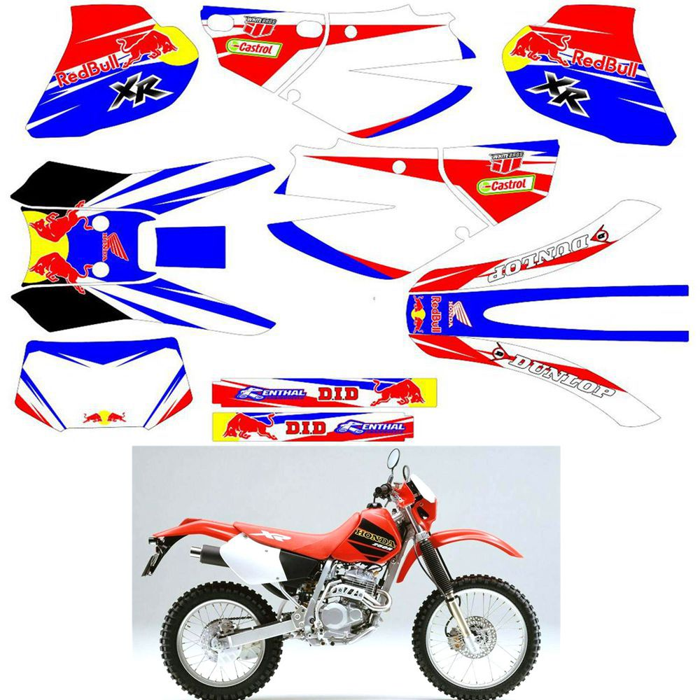 For HONDA XR250 1995 1996 1997 1998 1999 2000 2001 2002 Customized Number Graphics Backgrounds Stickers Kit Decal