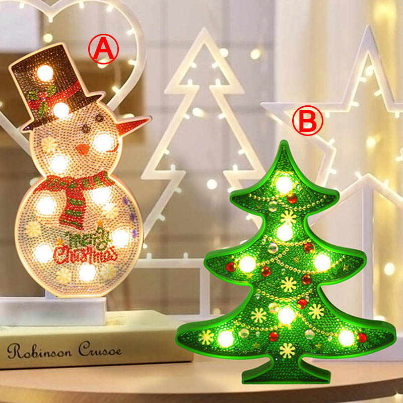 New lamp DIY LED Diamond Painting Night Light Christmas Tree Snowman Cross Stitch Embroidery Special Shape Wedding Decoration