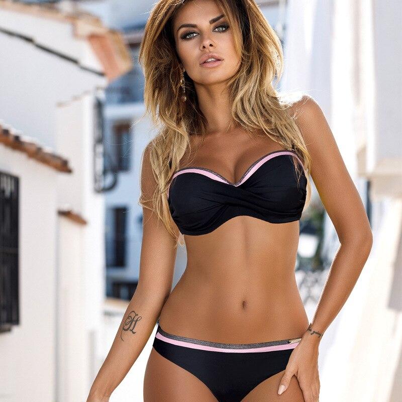 2019 New Women's Swimsuit Female Separate Bikini Set Sexy Solid Chest Knotted Swimwear Micro Bikini Two Piece Swimsuits