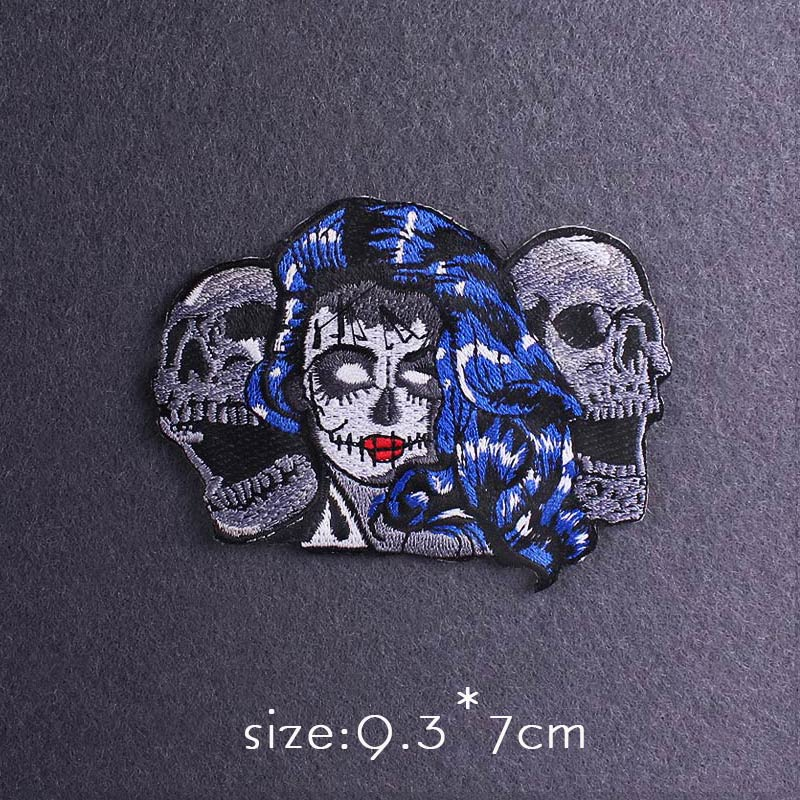 Skull Patch Zombie Bride Embroidered Patches For Clothing Iron On Patches Clothes Applique Stickers Punk Patch Sewing Supplies-4