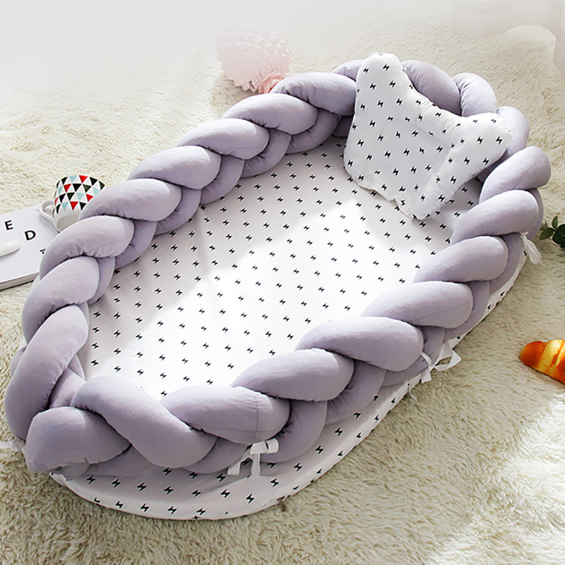 Newborn Baby Portable Crib Weaving Infant Bed Cotton Sleeping Cot Nursing Bedding Safety Protection BXX017
