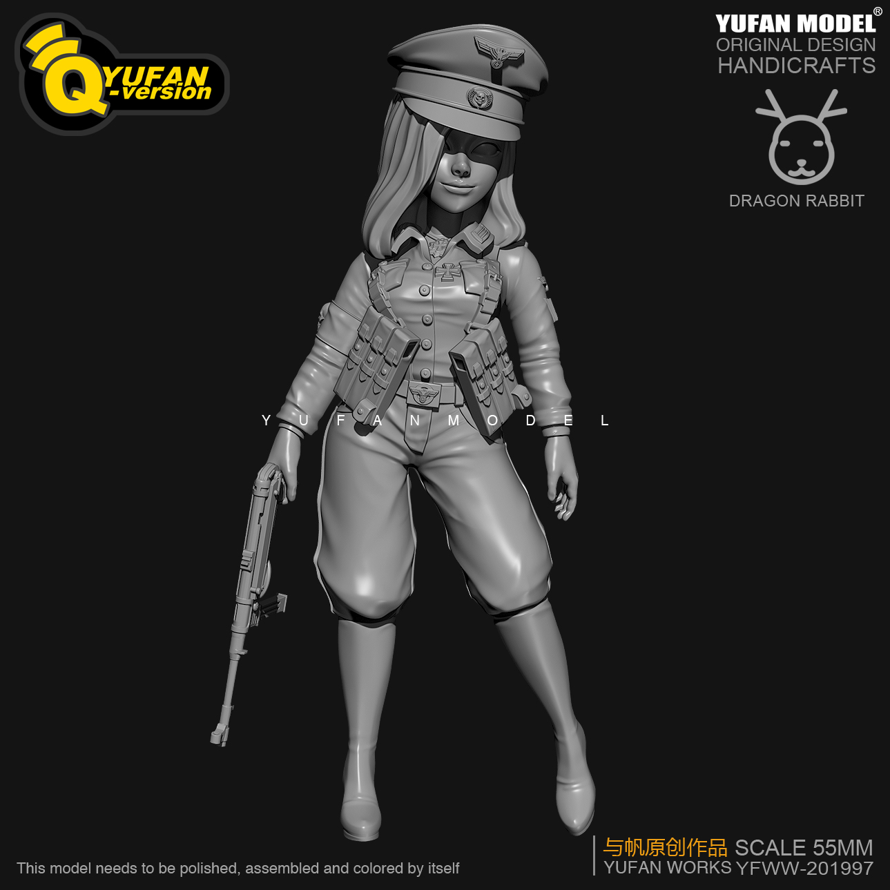 Resin Figure Kits Q Version Colonel Resin Soldier  H55mm YFWW35-2057