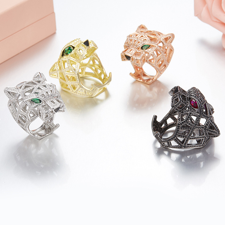 Bague en argent véritable panthère pour femmes hommes 925 en argent Sterling vert yeux léopard doigt cubique zircone Ringen bijoux de fête
