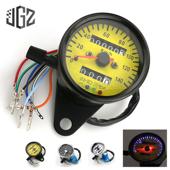 Universal Motorcycle Speedometer Odometer Gauge Dual Speed Meter LED Indicator Light ATV Bike Scooter Vintage Tachometer 12V