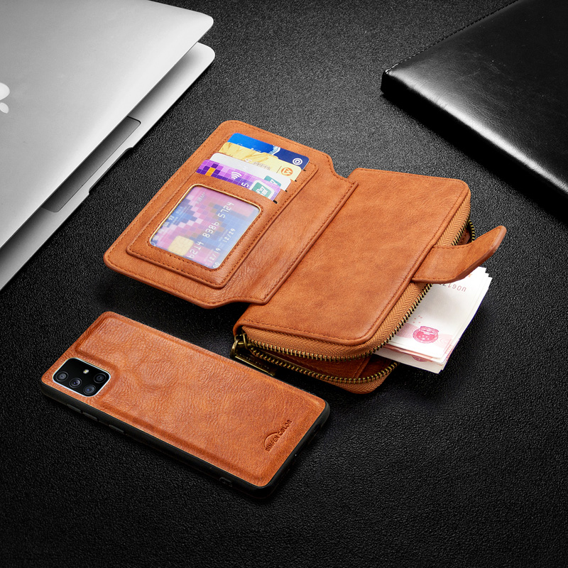 Wallet Leather <font><b>Case</b></font> For <font><b>Samsung</b></font> Galaxy A91 A81 A71 A70 A50 A40 <font><b>A30</b></font> A20 A10 Detachable Magnetic Zipper <font><b>Flip</b></font> <font><b>Case</b></font> Card Slots Hold image