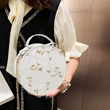 Women's Fashion Lace Fresh Handbag Crossbody Bag Solid Color Small Round Bag Shoulder Crossbody embroidery Bag Card Holder(China)