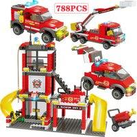 788 pçs cidade polícia bombeiros caminhão carro blocos de construção mini bombeiro iluminar tijolos brinquedos cidade polícia blocos
