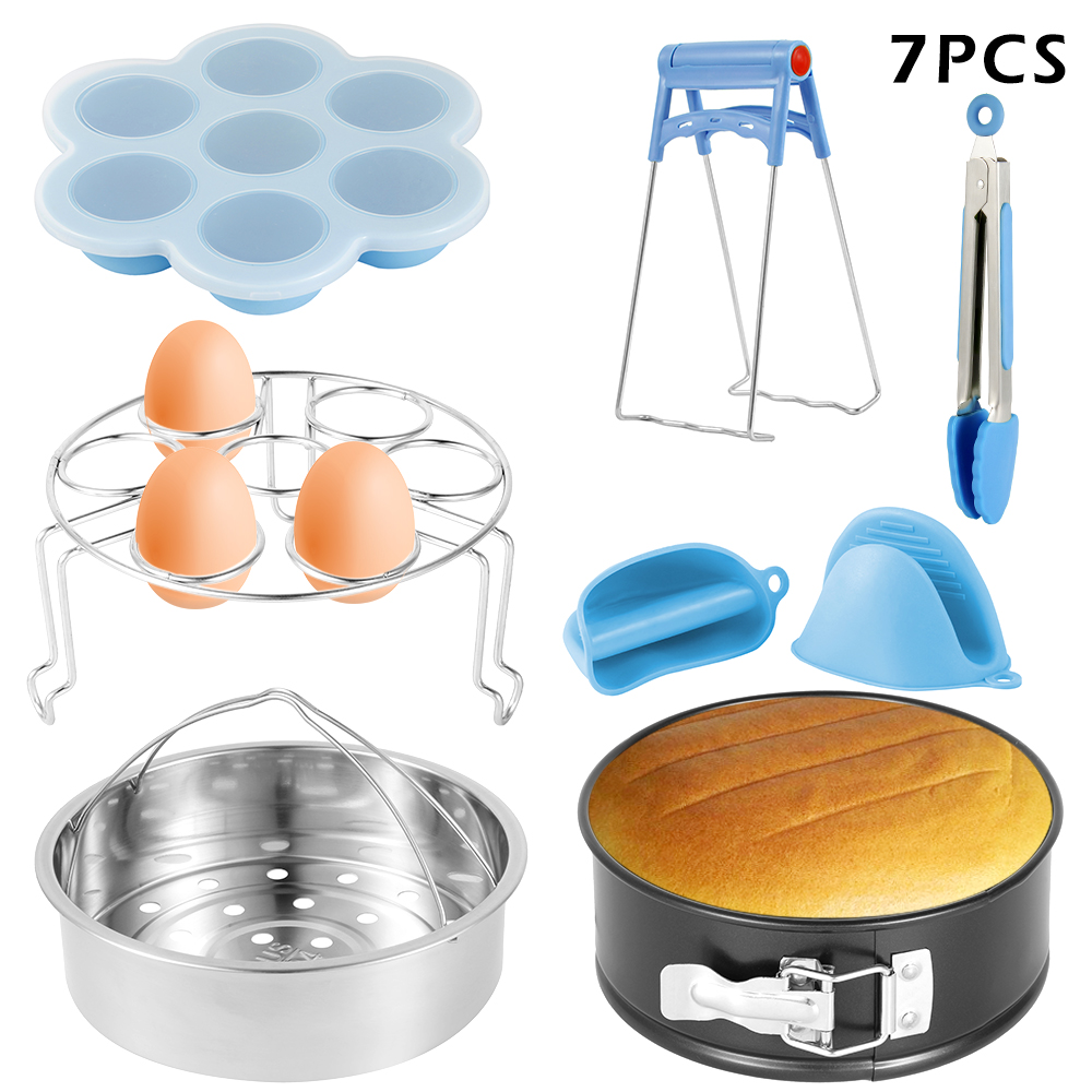 7pcs Instant Pot Accessories Set Electric Pressure Cooker Accessories Stainless Steel Steamer Basket Home Kitchen Cooking Tools